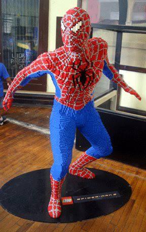 spiderman lego sculpture